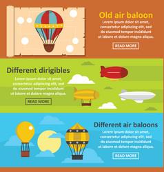 Retro balloons banner horizontal set flat style vector
