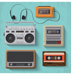 Retro music player icon set 2 vector image vector image