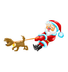 santa with dog vector image