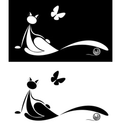 set of cat silhouette vector image