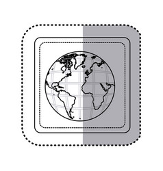 Sticker silhouette square button earth world map vector