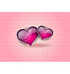 two hearts on the pink background vector image vector image