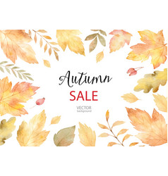 Watercolor autumn banner sales isolated on vector