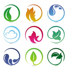 Design elements with nature signs vector