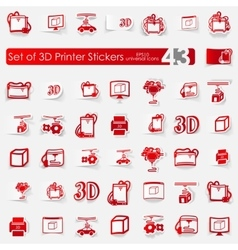 Set of three d printer stickers vector