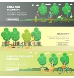 set of gardening concept horizontal banners vector image