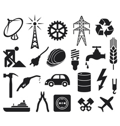 Industry icons collection vector