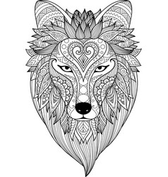 Zendoodle stylize of dire wolf vector