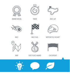 race flag and speed icons winner medal signs vector image