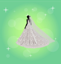 Beautiful young girl in a wedding dress vector