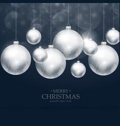 Beautiful christmas balls decoration on blue vector