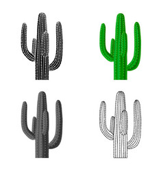 mexican cactus icon in cartoon style isolated on vector image