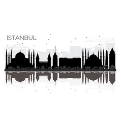 istanbul city skyline black and white silhouette vector image