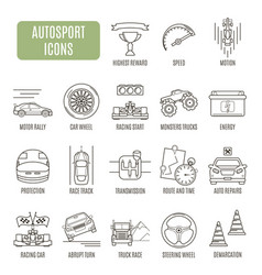 autosport icons set of pictogram vector image