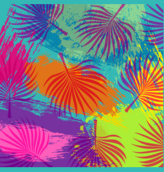 Tropical summer jungle palm tree leaf background vector