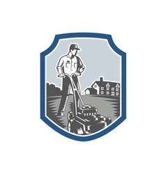 Gardener mow lawn mower woodcut shield vector