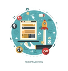 Flat design business with seo optim vector
