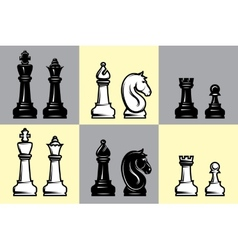 Sets of black and white chess with part of the vector