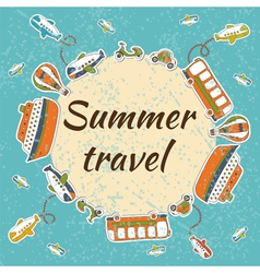 Summer travel card summer vacation concept vector