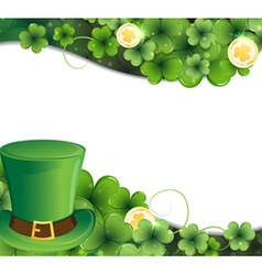 Leprechaun hat clover and gold coins vector image