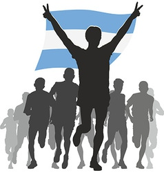 Athlete with the argentina flag at the finish vector