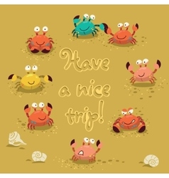 Cute of colorful crabs and vector