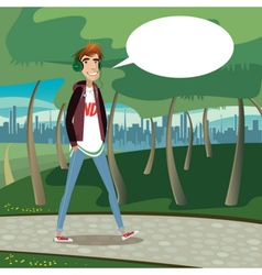 Teenager walking at city park vector