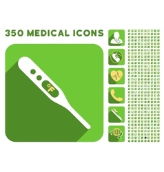 Fahrenheit thermometer icon and medical longshadow vector