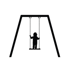 Child on swing in black vector