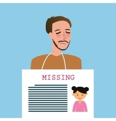 Man holding sign of missing children kids vector