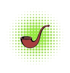 Vintage tobacco pipe icon comics style vector
