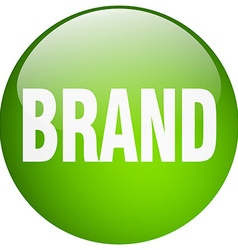 Brand green round gel isolated push button vector