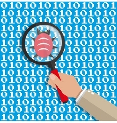 magnifying glass scanning digital software code vector image