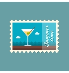 Martini cocktail stamp summer vacation vector