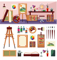 Art studio interior design concept vector