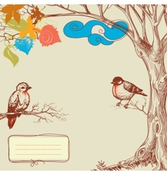 Autumn tree and birds vector image vector image