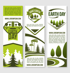 Banners for earth day ecology concept vector