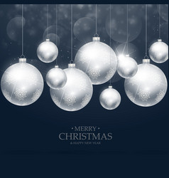Beautiful christmas balls decoration on blue vector