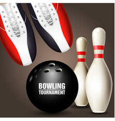 bowling shoes skittle and ball - poster vector image vector image