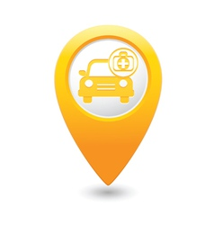 Cars first aid kit map pointer yellow vector
