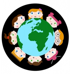 children and earth vector image vector image