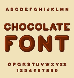 Chocolate font Dessert ABC Sweet alphabet Brown vector image