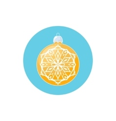 Colorful icon yellow ball with snowflake vector