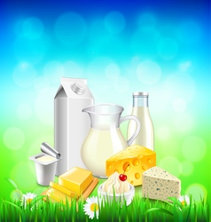 Dairy products on green grass blue sky background vector image vector image