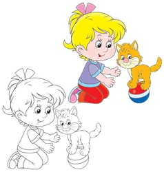 Girl and kitten vector