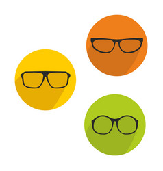 glasses green yellow and orange icon set isolated vector image