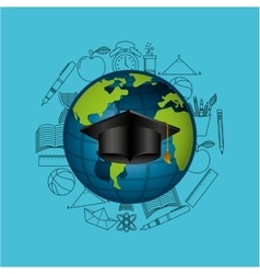 Globe education online graduation hat design vector