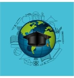 Globe education online graduation hat design vector