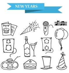 Hand draw icons new year and merry christmas vector
