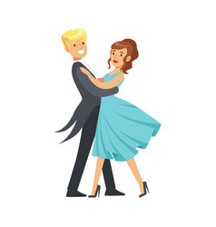 Happy young couple dancing ballroom dance in vector